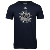 Adidas Climalite Navy Ultimate Performance Tee-Bulldog Head