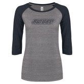 ENZA Ladies Athletic Heather/Navy Vintage Triblend Baseball Tee-SWOSU Glitter