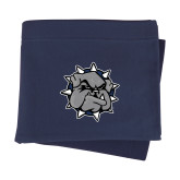 Navy Sweatshirt Blanket-Bulldog Head
