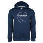 Under Armour Navy Performance Sweats Team Hoodie-Basketball Side View Design