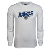 White Long Sleeve T Shirt-Dawgs Fancy Lines