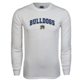 White Long Sleeve T Shirt-Arched Bulldogs