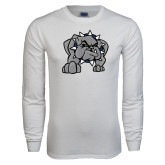 White Long Sleeve T Shirt-Bulldog
