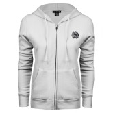 ENZA Ladies White Fleece Full Zip Hoodie-Bulldog Head