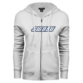 ENZA Ladies White Fleece Full Zip Hoodie-SWOSU