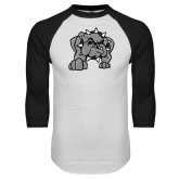 White/Black Raglan Baseball T Shirt-Bulldog