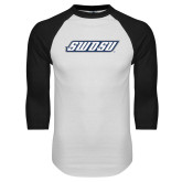 White/Black Raglan Baseball T Shirt-SWOSU