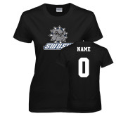 Ladies Black T Shirt-Primary Mark, Custom Tee w/ Name and #