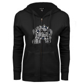 ENZA Ladies Black Fleece Full Zip Hoodie-Bulldog