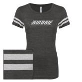 ENZA Ladies Black/White Vintage Triblend Football Tee-SWOSU Glitter