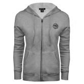ENZA Ladies Grey Fleece Full Zip Hoodie-Bulldog Head