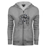 ENZA Ladies Grey Fleece Full Zip Hoodie-Bulldog