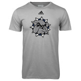 Adidas Climalite Sport Grey Ultimate Performance Tee-Bulldog Head