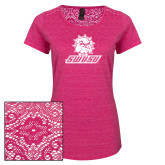 Ladies Dark Fuchsia Heather Tri-Blend Lace Tee-Primary Mark