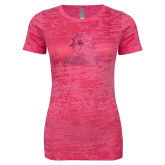 Next Level Ladies Junior Fit Fuchsia Burnout Tee-SWOSU Glitter