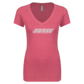 Next Level Ladies Vintage Pink Tri Blend V-Neck Tee-SWOSU Glitter