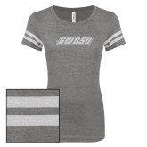 ENZA Ladies Dark Heather/White Vintage Triblend Football Tee-SWOSU Glitter