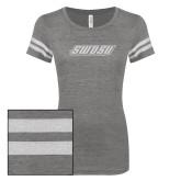 ENZA Ladies Dark Heather/White Vintage Triblend Football Tee-SWOSU Glitter
