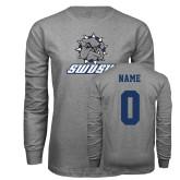 Grey Long Sleeve T Shirt-Primary Mark, Custom Tee w/ Name and #