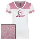 Ladies White/Bright Pink Juniors Varsity V Neck Tee-SWOSU Glitter