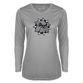 Ladies Syntrel Performance Platinum Longsleeve Shirt-Bulldog Head