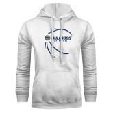 White Fleece Hoodie-Basketball Side View Design