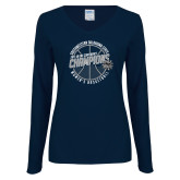 Ladies Navy Long Sleeve V Neck Tee-Womens Basketball GAC Conference Champions