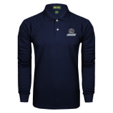 Navy Long Sleeve Polo-Primary Mark