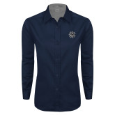 Ladies Navy Twill Button Down Long Sleeve-Bulldog Head