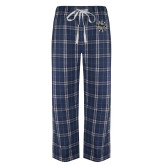 Navy/White Flannel Pajama Pant-Bulldog Head