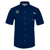 Columbia Bonehead Navy Short Sleeve Shirt-Bulldog Head