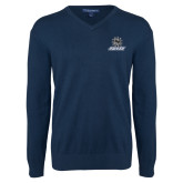 Classic Mens V Neck Navy Sweater-Primary Mark