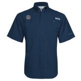 Columbia Tamiami Performance Navy Short Sleeve Shirt-Bulldog Head