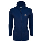 Columbia Ladies Full Zip Navy Fleece Jacket-Bulldog Head