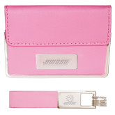 Business Card Case and Key Ring Set Pink-SWOSU Engraved