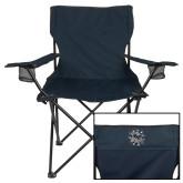 Deluxe Navy Captains Chair-Bulldog Head