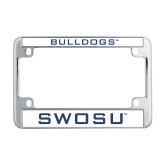 Southwestern Oklahoma State Metal Motorcycle License Plate Frame in Chrome-Bulldogs
