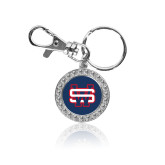 Crystal Studded Round Key Chain-SW