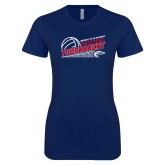 Next Level Ladies SoftStyle Junior Fitted Navy Tee-Volleyball Tournament