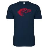 Next Level SoftStyle Navy T Shirt-Horse Head