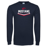 Navy Long Sleeve T Shirt-Mustang Softball