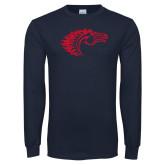 Navy Long Sleeve T Shirt-Horse Head