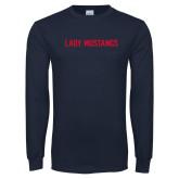 Navy Long Sleeve T Shirt-Lady Mustangs