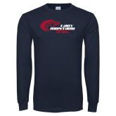 Navy Long Sleeve T Shirt-Lady Mustang Softball