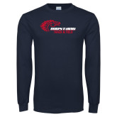 Navy Long Sleeve T Shirt-Mustang Track and Field