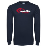 Navy Long Sleeve T Shirt-Lady Mustang Track and Field