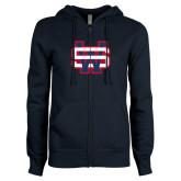 ENZA Ladies Navy Fleece Full Zip Hoodie-SW