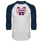 White/Navy Raglan Baseball T Shirt-SW