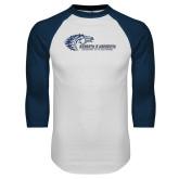 White/Navy Raglan Baseball T Shirt-Mustangs Flat