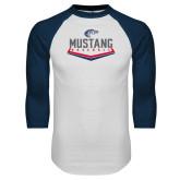 White/Navy Raglan Baseball T Shirt-Mustang Baseball